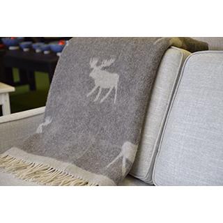 Jeté 100% laine motif orignal - gris