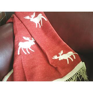 Jeté 100% laine motif orignal - rouge