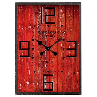Horloge murale bois de grange rouge