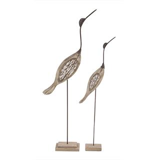 Ensemble de deux oiseaux sur pied