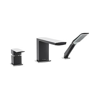 Robinet 3 morceaux pour baignoire avec douchette Grafik - Noir et chrome