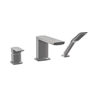 Robinet 3 morceaux pour baignoire avec douchette Grafik - Nickel pur PVS