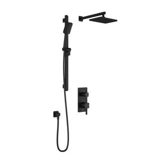 Système de douche thermostatique SquareOne avec valve de type T/P AQUATONIK™ avec sélecteur 2 voies et bras mural - Noir mat