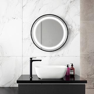 """Miroir à éclairage DEL 24"""" x 24"""" Effect avec bande givrée à l'intérieur, cadre noir et interrupteur tactile pour contrôle de température de couleur"""