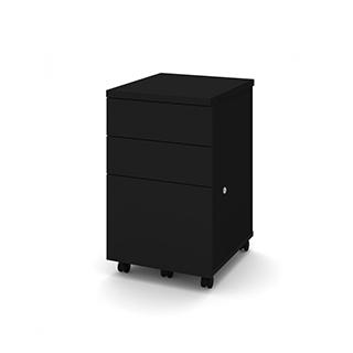 Caisson mobile assemblé avec 3 tiroirs - Noir