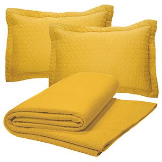 Ensemble courtepointe Moutarde avec 2 cache-oreillers
