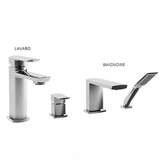 Grafik : Ensemble de robinets de lavabo et baignoire - Chrome