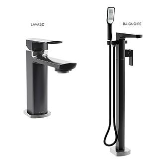 Grafik : Ensemble  de robinets de lavabo et de bain autoportant - Noir et chrome