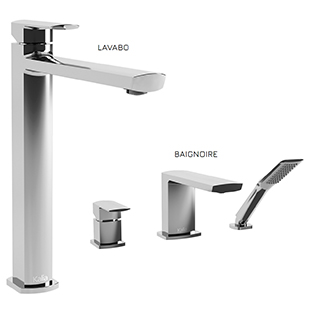 Grafik : Ensemble de robinets de vasque et de baignoire - Chrome