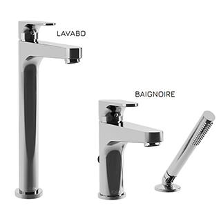 Kontour : Ensemble de robinets de vasque et de baignoire - Chrome