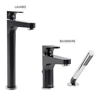 Kontour : Ensemble de robinets de vasque et baignoire - Noir et chrome