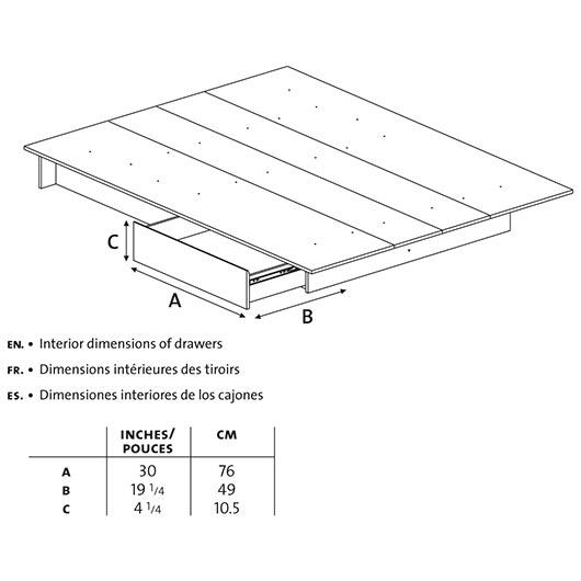 Lit plateforme 54 60po avec tiroir de rangement tanguay - Lit plateforme avec rangement ...