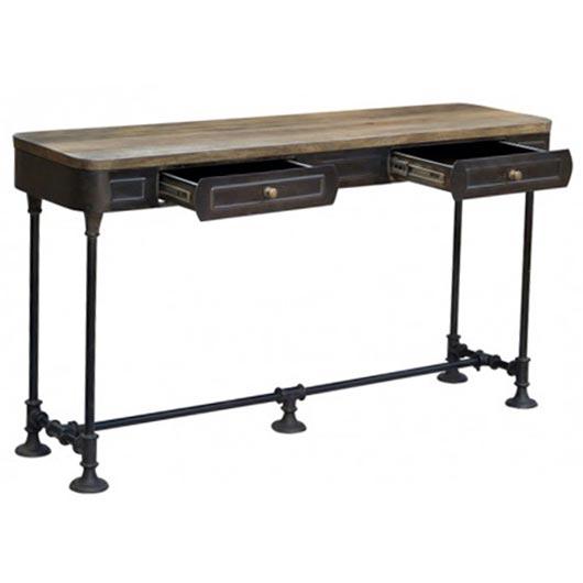 Table sofa avec 2 tiroirs tanguay for Table console avec tiroir