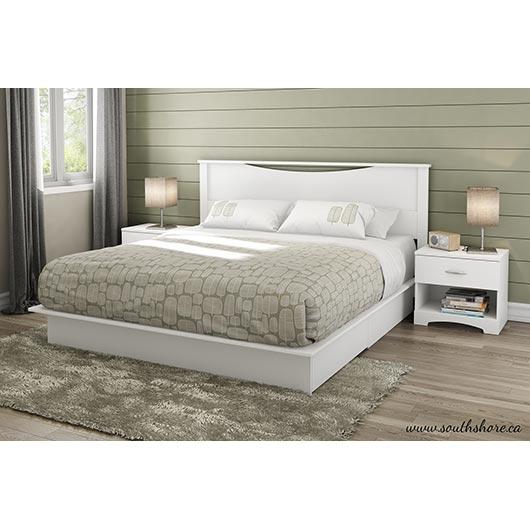 Lit plateforme format très grand lit avec tiroirs South Shore