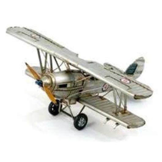 Avion d'époque en métal argent