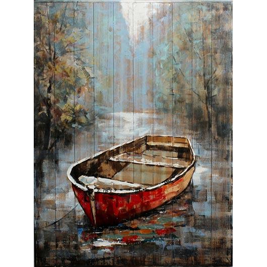 Peinture sur bois chaloupe sur la rivi re tanguay for Housse pour chaloupe