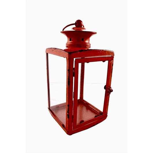 Lanterne en métal rouge