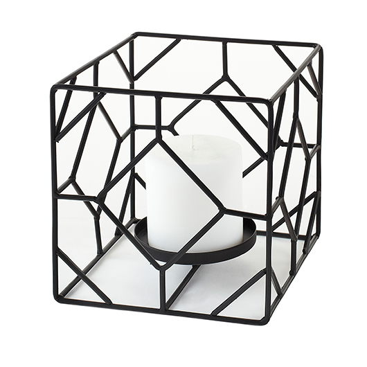 Bougeoir carré en métal noir