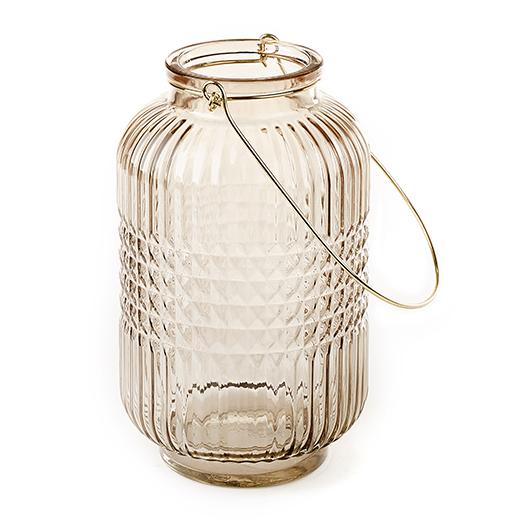 Lanterne en verre coloré taupe 10po