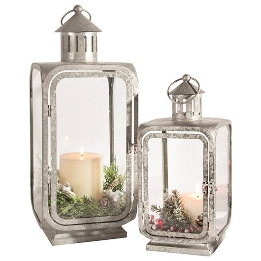 2 lanternes en métal galvanisé