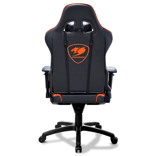 Chaise Cougar orange et noire pour gamer Tomauri