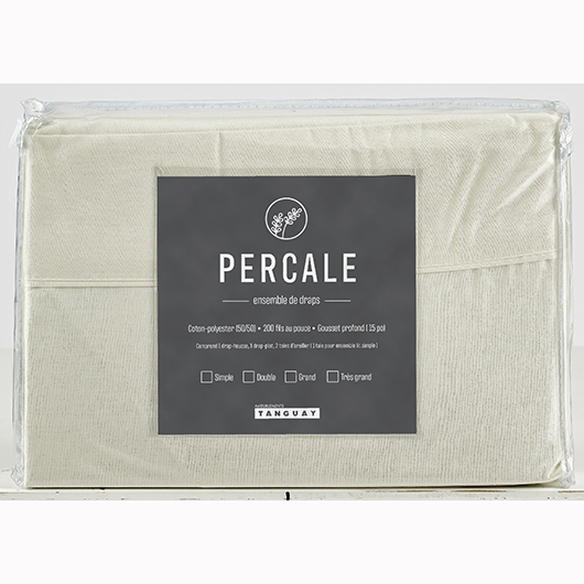 Ensemble de draps Percale grand lit