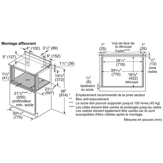 Four à micro-ondes 950 W de 1.2 pi3 Bosch