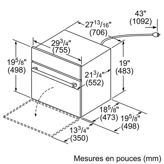 Four à micro-ondes 950 W de 1.6 pi3 Bosch