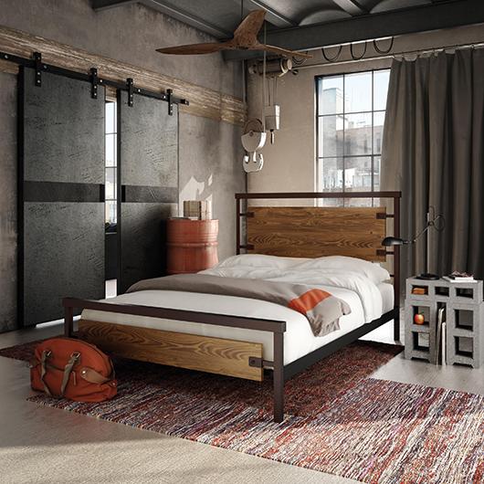 Lit grand lit 2 places design industriel tanguay - Chambre style loft industriel ...