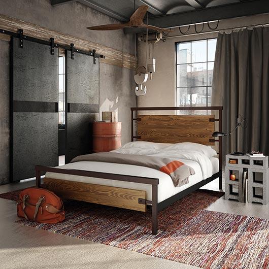 Lit queen grand 2 places design industriel tanguay for Chambre a coucher 2 places