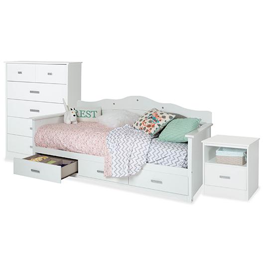 Mobilier de chambre à coucher lit simple 3 mcx South Shore