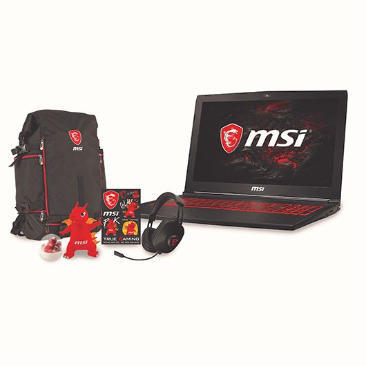 Ensemble portable, sac à dos, écouteurs et figurine MSI Computer